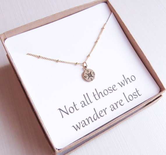 Compass Necklace | Graduation Gift  | Gold Compass Necklace | Friendship Necklace | Not all who wander are lost necklace | gifts for her