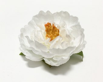 Small WHITE Peony - Artificial Flowers, Silk Flower, Mllinery, Wedding