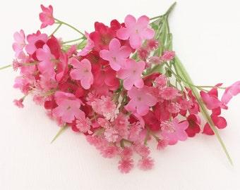 PINK Plastic Baby's Breath Bush - Gypsophila - Artificial Flowers, Greenery, Filler