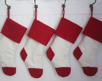 Christmas Stocking Matelasse White with Red Wool Felt