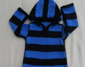Hoodie/sweater/jumper for a boy or girl, hand knitted in blue and black stripes, size 24-25 in chest, age 2/3 years.