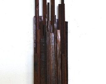 BARREL ART SKYLINE - Caelum Turrim  - Limited Edition Wine Barrel Wall Art // Unique // Cityscape // Wall Decor // Recycled Reclaimed Oak
