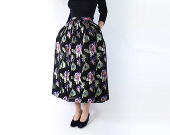 VINTAGE Metallic Full Skirt Black Formal