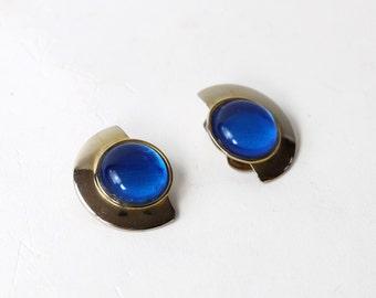 VINTAGE Blue Silver Earrings Clip Ons