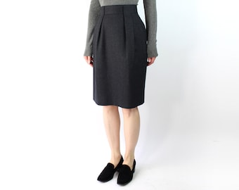 VINTAGE Grey Wool Pencil Skirt High Waist