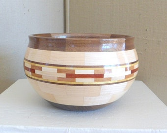 Wood Bowl Segmented Wood Bowl Wood Serving Bowl Hand Crafted Exotic Woods Handmade Wedding Gift Wooden Anniversary Gift Table Centerpiece