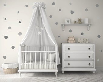 Baby Nursery Wall Decals, Gray, Grey, Polka dots, Baby Nursery Wall Decal  Kids Wall Decal Modern Nursery Wall Decal, Children room art