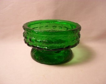 E O Brody Vintage Green Textured Glass Dish Candle Stick Holder
