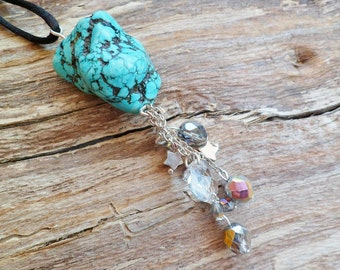 Natural Tibetan Turquoise And Sterling Silver Necklace. Turquoise Properties. Natural stone, Handmade. Rough Stone. Turquoise Pendant.