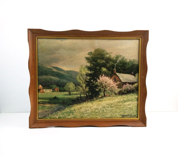 """Framed Robert Wood Print """"Early Spring"""" / Vintage 1970s Pressed Board Lithograph"""