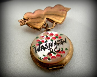1950's Double Heart Locket Pin Washington DC Souvenir