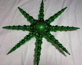 Star 14'' Green Plastic, Glitter, Shiny Smooth, Christmas Tree Decoration, Craft Wreath Garland  NWT