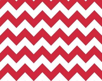 Summer Clearance Riley Blake Fabric - Half Yard of Medium Chevron in Red