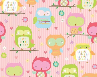 Owl & Co Fabric Owls Main in Pink by Riley Blake - 1 Yard