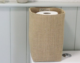Hessian Burlap Toilet Roll Storage Basket Bucket, Eco  Rustic Jute Storage - UK - Bathroom, Nursery, Plant Pot Holder, Tidy, Organiser