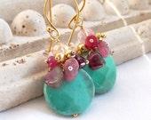 Watermelon Tourmaline Green Moss Opal Gemstone Cluster Drop Earrings Gold Vermeil Everyday Earrings