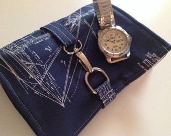 Travel Watch Roll, Watch Case, Groomsmen Gift, Watch Storage Pouch, Blueprints, Gift For Men, Gift Under 50, Father Gift, Nautical