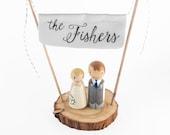 Last Name Cake Topper - newlywed gift - wedding gift - mint cake topper - peg people - custom name banner, wedding gift, wedding decor