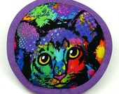 Catnip Toys, Sphynx Cats, Oriental Shorthair Cat, Modern Art Cats, Psychedelic Cat Pillow, Cats on Catnip, Purple Cats  PAINT SPLATTER CAT