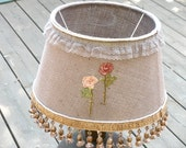 20% Off- Floor lamp, Living room lighting, Drum lamp decor made from  rustic Jute, Floral Embroidery, Rustic lighting, Unique Home & Living.