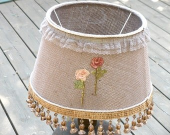 Floor lamp, Living room lighting, Drum lamp decor made from  rustic Jute, Floral Embroidery, Rustic lighting, Unique Home & Living.