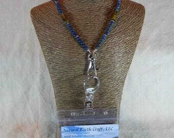 "Blue lapis brown tigers eye ID card holder 30"" long lanyard badge holder cobalt ultramarine semiprecious stone jewelry in a gift bag 1518"