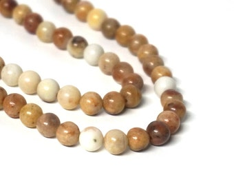 6mm Morocco Agate beads, round gemstone natural brown,  full & half strands available  (1184S)
