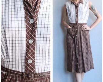 1940s Dress // Window Pane Plaid Dress // vintage 40s dress