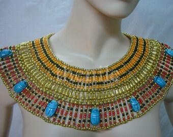 XLRG  Egyptian  bedead  Queen Cleopatra Necklace 9 Scarab Mega Sale