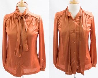 Vintage 1970s Copper Rust Pumpkin Bronze Necktie Ascot Tie Bow Blouse * Button Down Preppy Secretary Disco Top
