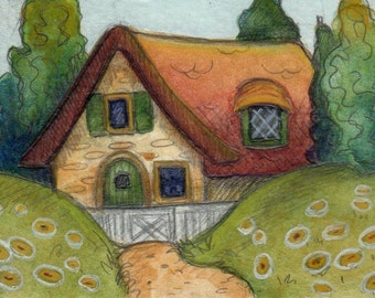 Original ACEO.......Art Deco Cottage