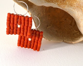 Genuine Coral Square Woven Earrings, Coral Round Tube with Silver tube Dot Earrings, Peyote Pattern Woven Earrings