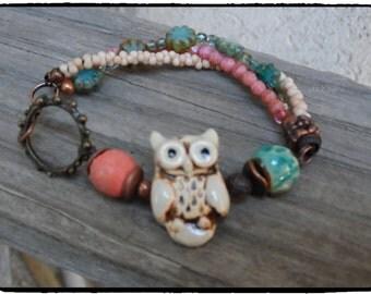 Bohemian Earthy Bracelet  Handmade Artisan Style