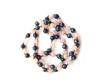 Gemstone bead necklace 1 strand rose quartz jasper gold color beads