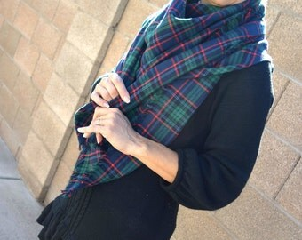 Plaid blanket scarf tartan green women scarf shawl gift for her winter scarf trending