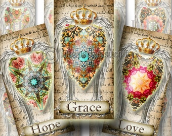 Shabby Floral GRACE, 1x2 images, Printable Digital Images, Cards, Gift Tags, domino, Magnets