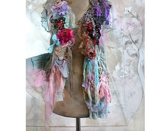 Unique Art To Wear Romantic Floaty Jacket/Blouse Peony Roses BLUE TWENTIES Cinderella Boho Antique Millinery Doilies Beads Fairy Tattered
