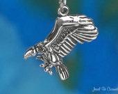 Vulture Sterling Silver Charm 3D Bird of Prey Scavenger Vultures .925