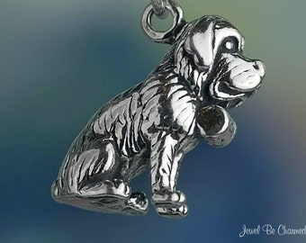 Sterling Silver Saint Bernard Charm Dog Breed Sitting 3D Solid .925