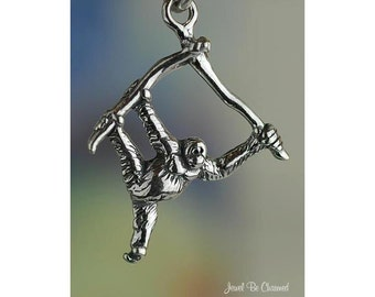 Sterling Silver Orangutan Charm Primate in Tree Great Ape 3D Solid 925