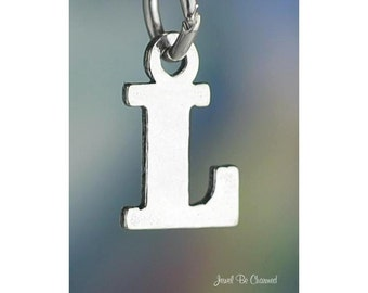Sterling Silver Small Letter L Charm Initial Capital Letters Solid 925