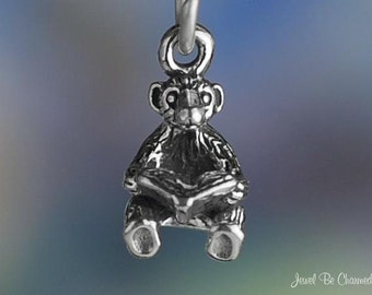 Bear Reading a Book Charm Sterling Silver Miniature Teddy Tiny .925