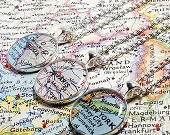 Personalized Vintage Map Necklace. You Pick City, State, or Country Worldwide. One Necklace. Map Pendant. Map Jewelry. Map Jewellery Travel.