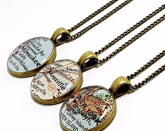 CUSTOM Vintage Map Necklace. You Select Location. Anywhere In The World. One Necklace. Resin Pendant. Map Jewelry. Wanderlust World Necklace