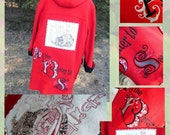 Custom Embroidered Red riding hood story red wool coat