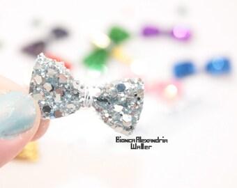 Silver Bow Hair Clip. Glitter Hair Clip. Glitter Hairclip. Birthday Hair Clip. Baby Hair Accessories. Baby Photo Prop. Flowergirl Hairclip.