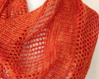 Asymmetrical Scarf, Hand Made Lace Shawl, Feminine Fashion Scarf, Hand Knit Orange Lace Shawl with Bling