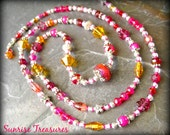 NEW Long Artisan Lampwork Glass Beaded Necklace, Sterling Silver, Pink/Red/Golden Orange, Gift For Her/One Of A Kind/Free Shipping