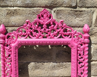 Scrolly Ornate Romantic French Country  Framed Mirror  - Upcycled 12 by 20 Hot Pink ,  White, Black,  Custom Color