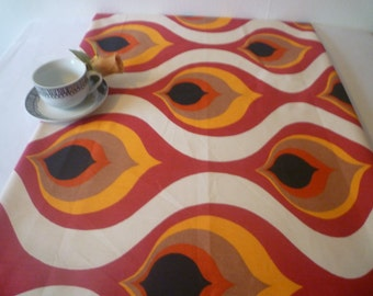 "Dinner Dresser Table Runner Retro Black Orange Red Funky Geometric Coffee/ Console Table Cotton Fabric 54"" x 14"""